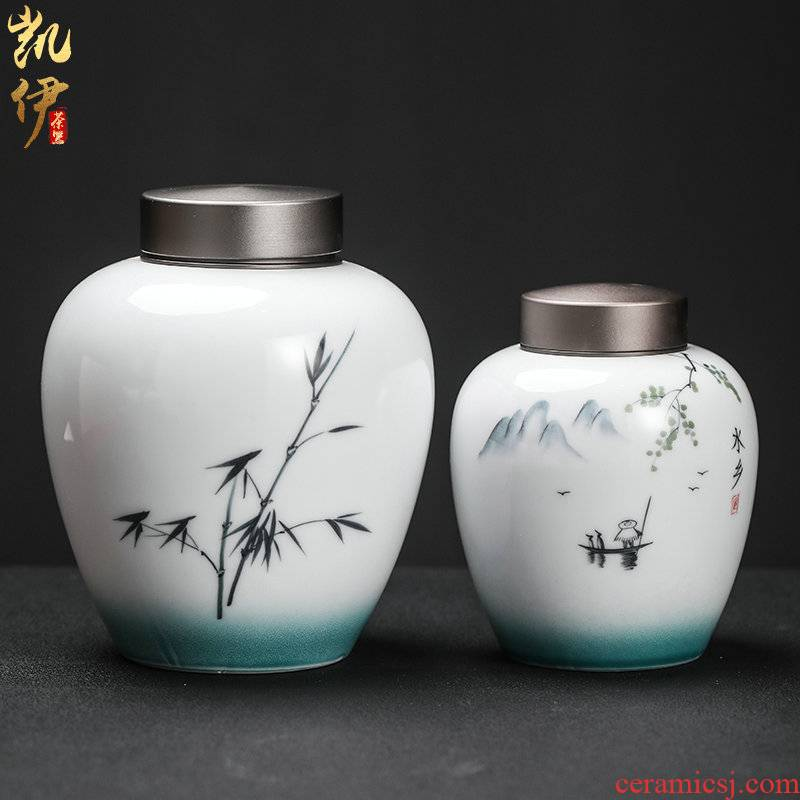 Hand - made up with caddy fixings seal pot home store receives tin cover your up cylinder tea tea box of jingdezhen ceramics