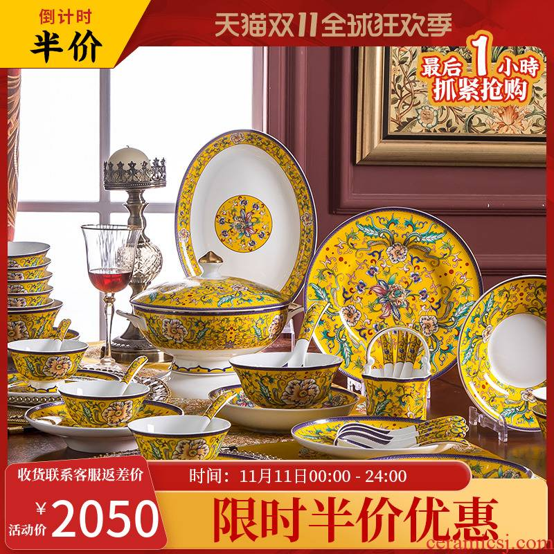 The dishes suit domestic high - grade ipads China jingdezhen ceramic tableware Chinese bowl plate combination housewarming gift