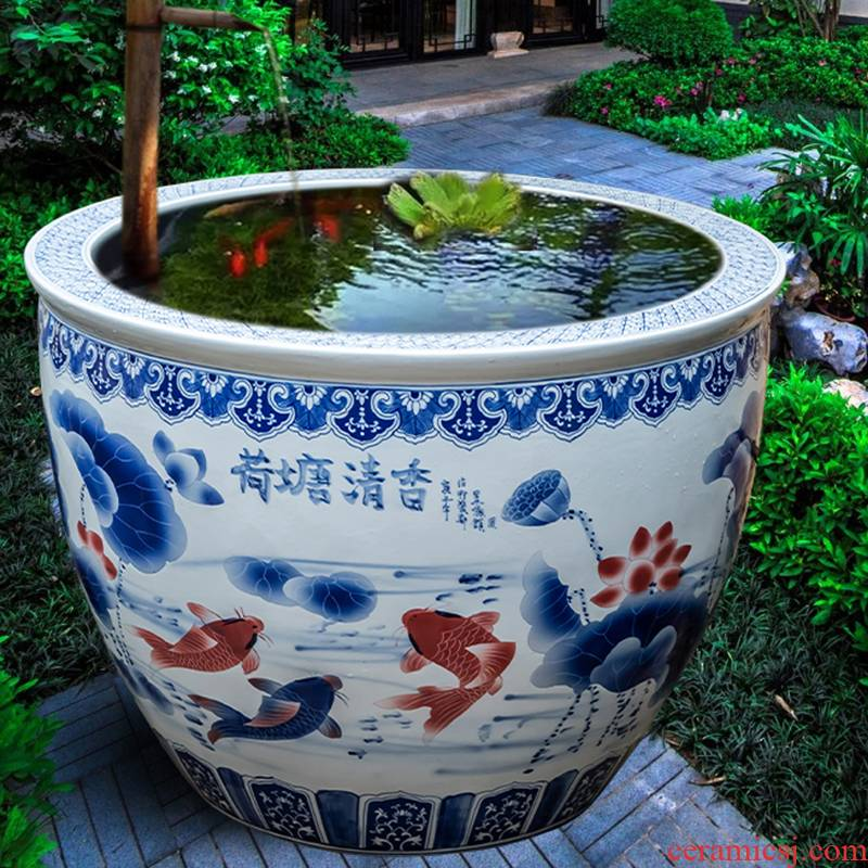 Jingdezhen ceramic flower pot water lily always LianHe basin of cycas garden villa flowers flowers cylinder goldfish bowl furnishing articles to plant trees