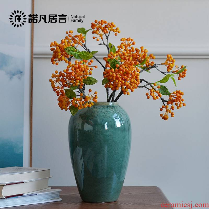 Mesa of jingdezhen ceramic vase sitting room European - style furnishing articles flower arranging flowers, home decoration decoration is contracted emerald green