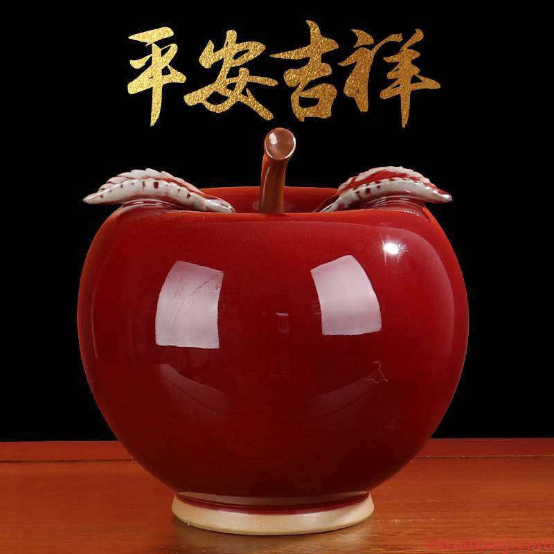 Apple, peach jun porcelain ceramic peace furnishing articles sitting room office wine cabinet TV ark, rich ancient frame craft ornament