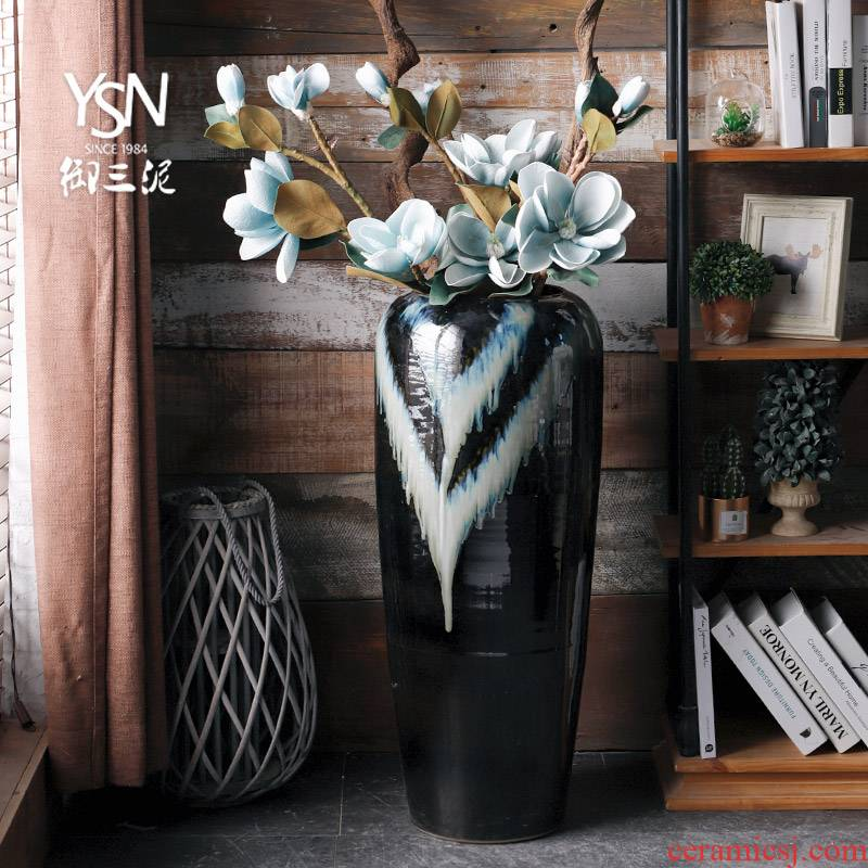 Royal jingdezhen ceramic vase simulation flower implement three mud floor decoration light sitting room key-2 luxury furnishing articles I and contracted arranging flowers