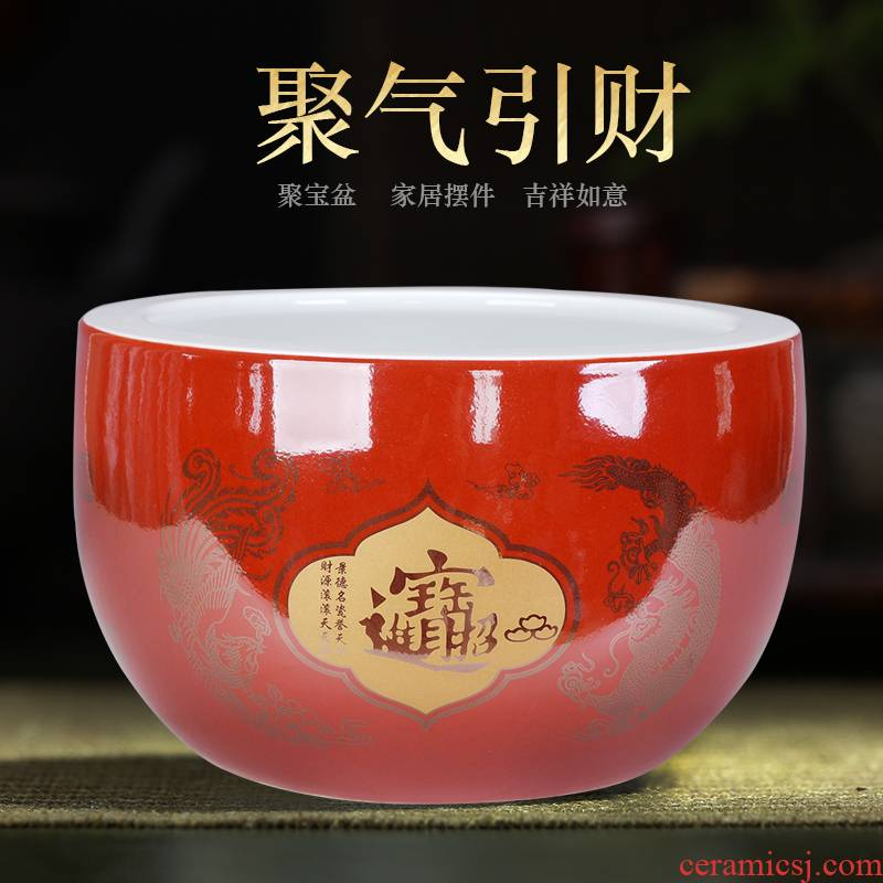 Jingdezhen ceramic marriage red cornucopia save cylinder porcelain furnishing articles lucky handicrafts and household large living room