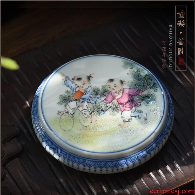 Hundred hong lad cover rear cover supporting manual hand bucket of blue and white porcelain enamel jingdezhen ceramic tea set tea furnishing articles