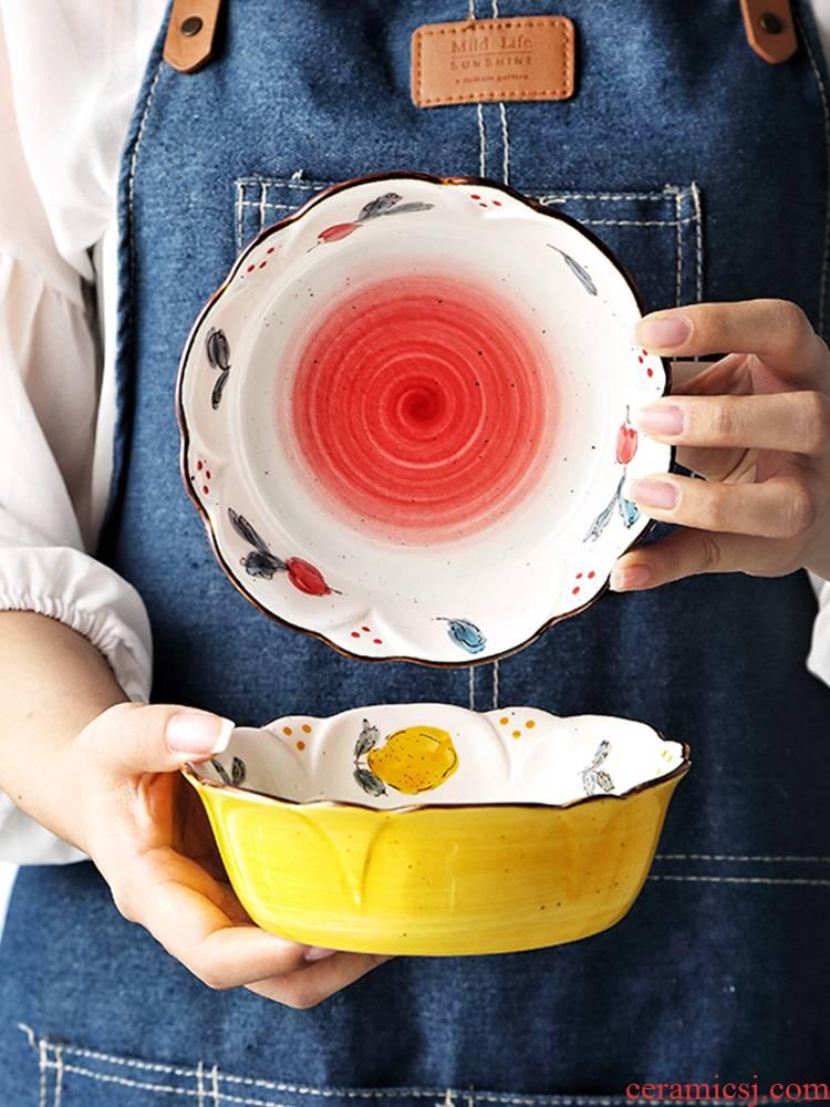 Lovely girl heart strawberry household ceramics single star fruit salad bowl dessert bowl breakfast bowl pattern character