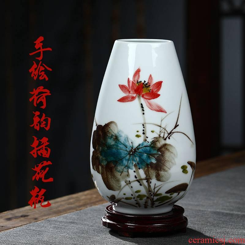Jingdezhen ceramics hand - made Chinese vase peony lotus flower arranging home decoration wine crafts are sitting room