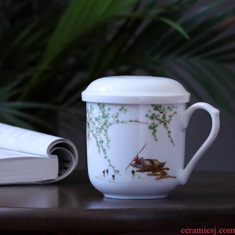 Jingdezhen ceramic hand - made office cup under the glaze colorful tea tea cups) single separation belt
