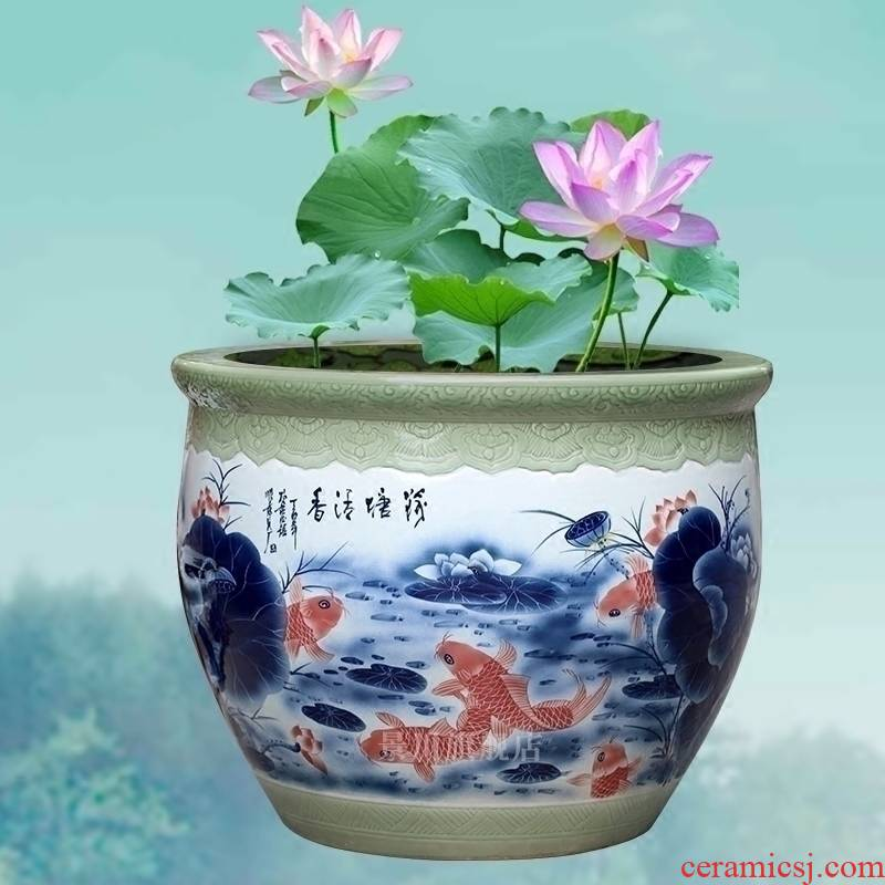 Hand made lotus goldfish bowl of jingdezhen ceramic turtle cylinder courtyard sitting room hotel lobby floor big furnishing articles