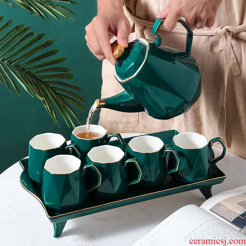 Little light last come unstuck cup with a suit of key-2 luxury glass with a glass of household water cup sitting room ceramic cup tea set northern European cups