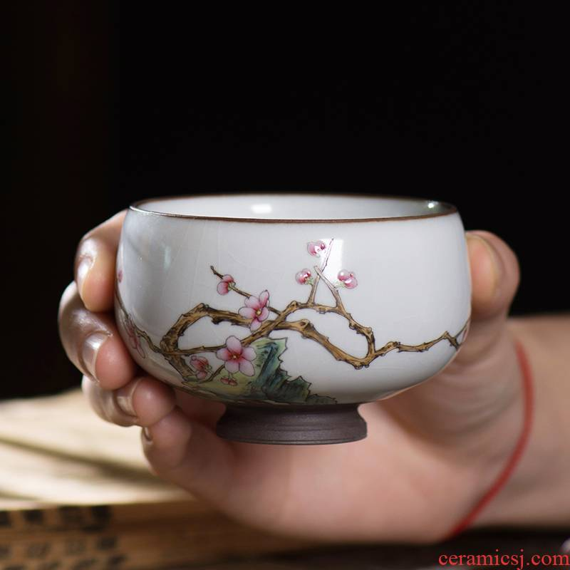 Pastel hand - made master cup of jingdezhen ceramic personal kung fu tea set by patterns tea cup sample tea cup