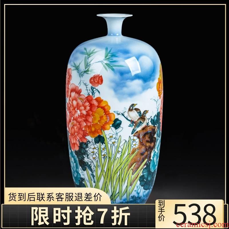 Jingdezhen ceramics hand - made vase of porcelain of blooming flowers, landing, large living room home TV ark, adornment