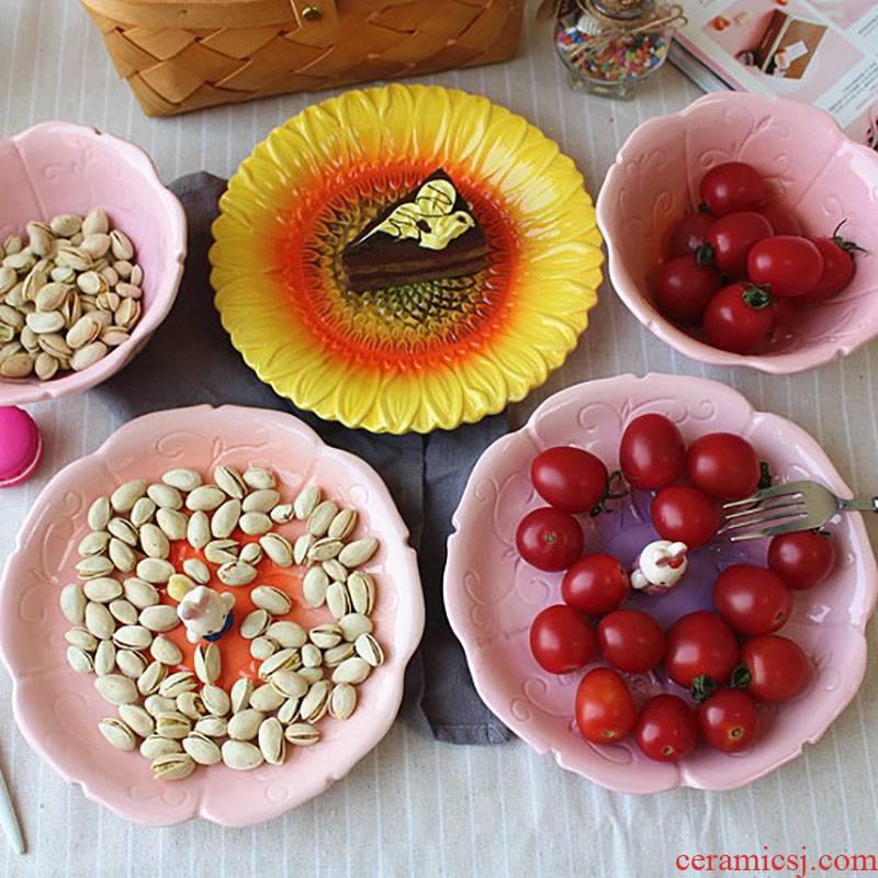 Jingdezhen ceramics under high temperature and glaze color Japanese express cartoon animals rabbits dessert fruit salad plate plate