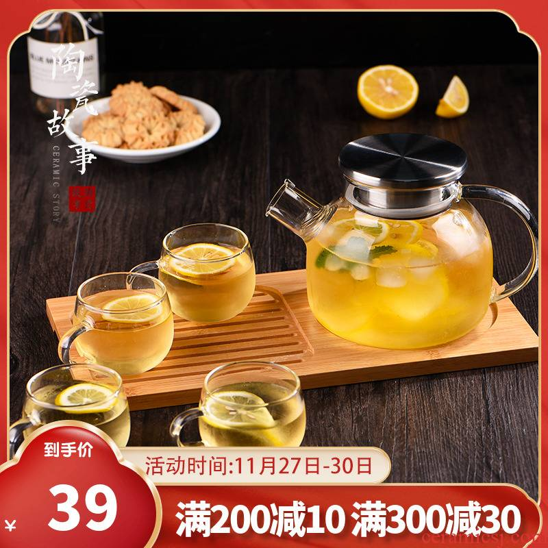 Ceramic story glass tea set of household heating Nordic afternoon tea, fruit tea the plants the teapot teacup candles