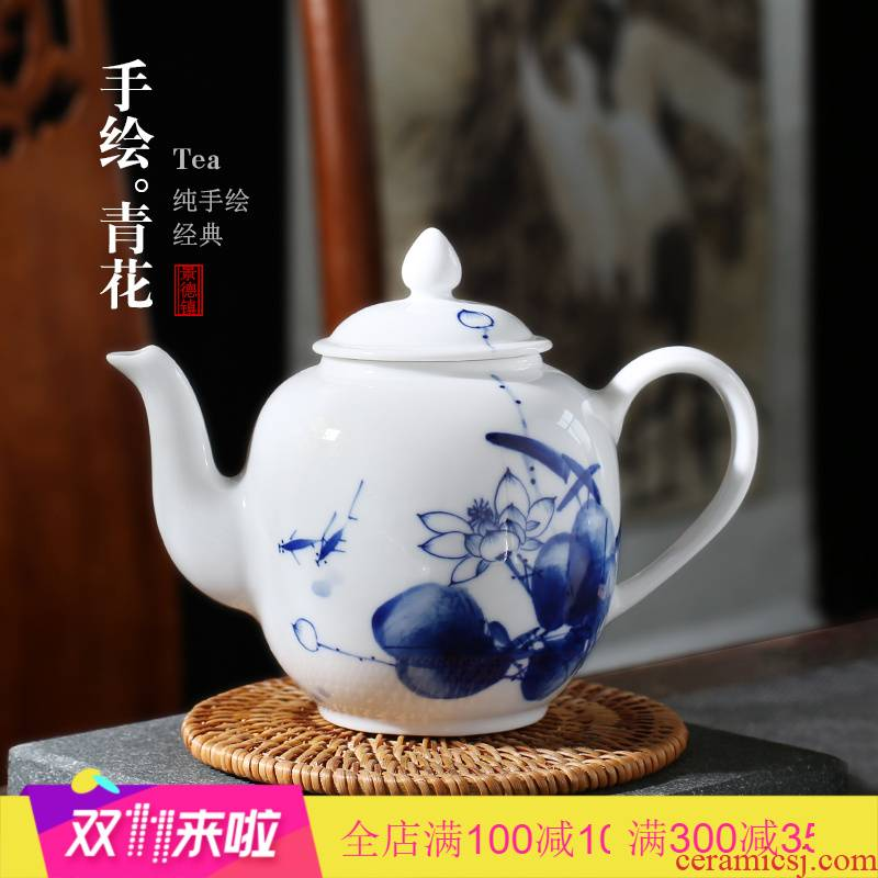 Poly real scene of jingdezhen ceramic teapot high - capacity hand - made filtering of blue and white porcelain household kung fu single pot Chinese teapot