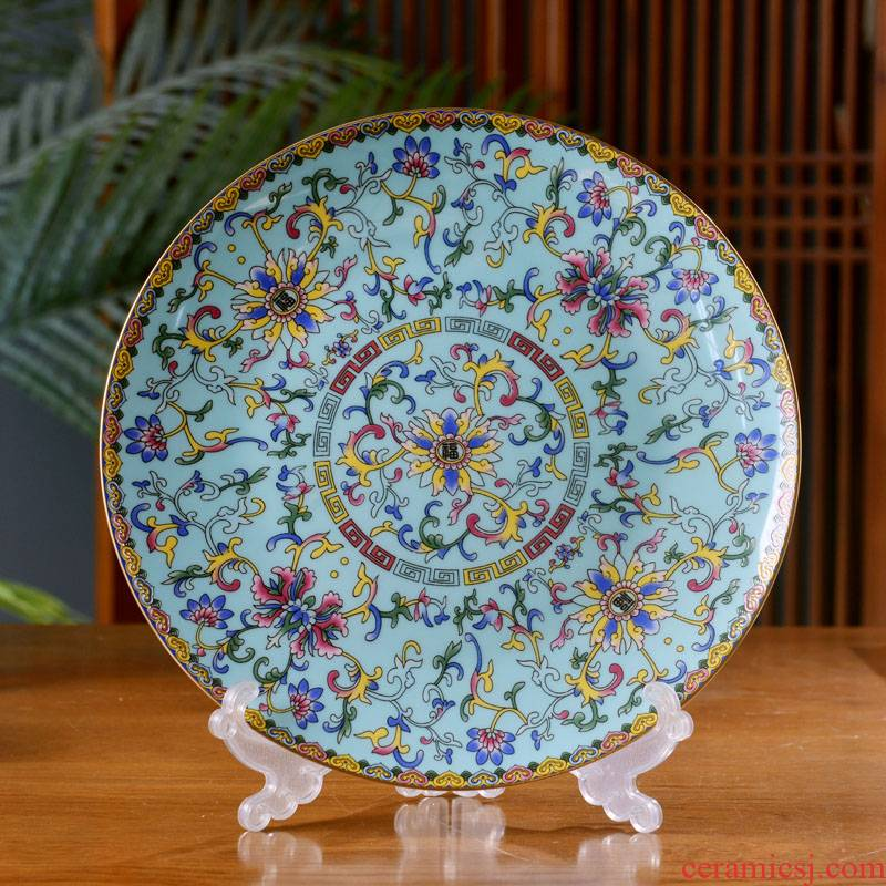 10 new Chinese style household ipads porcelain in jingdezhen ceramics shallow pan Pacific Ocean deep dish colored enamel antique plate