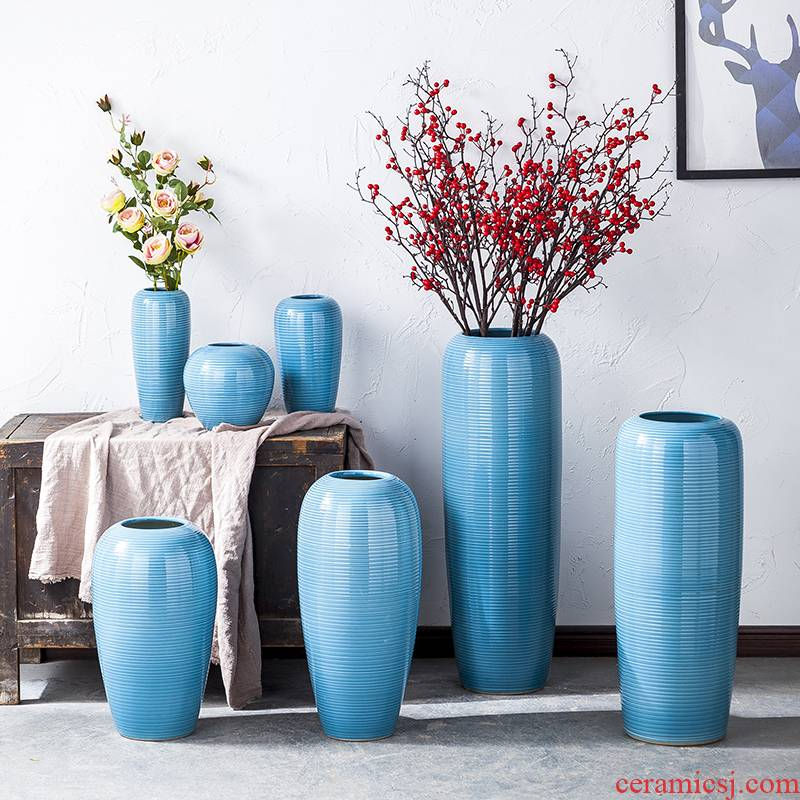 Ceramic vase furnishing articles sitting room TV ark of large porcelain flower arranging household contracted modern dry flower decoration