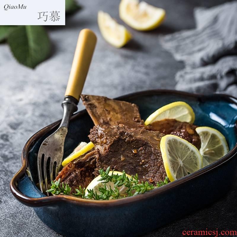 Qiam qiao mu Japanese cheese baked FanPan web celebrity stars pan creative dinner plate ceramic bowl of oven of my ears