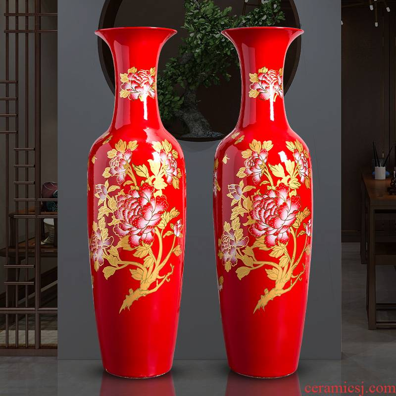 Jingdezhen ceramics China red extra large size vase of new Chinese style household living room hotel ground adornment furnishing articles