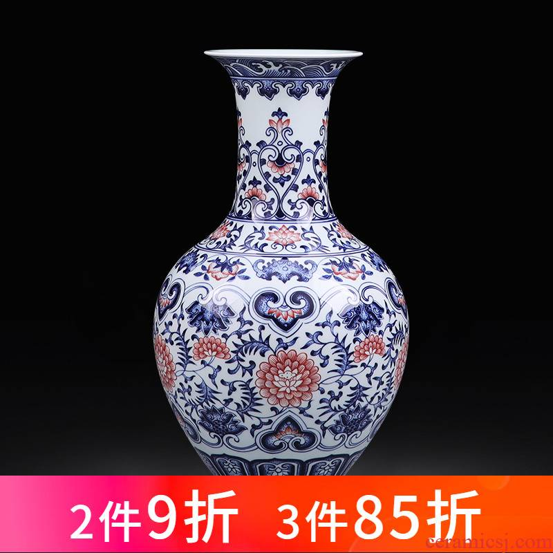 Jingdezhen ceramics antique hand - made large blue and white porcelain vase of new Chinese style household living room TV cabinet decoration