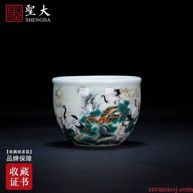 Holy big ceramic kung fu tea master sample tea cup heavy pastel pine creek James t. c. na was published cylinder cup of jingdezhen tea service by hand