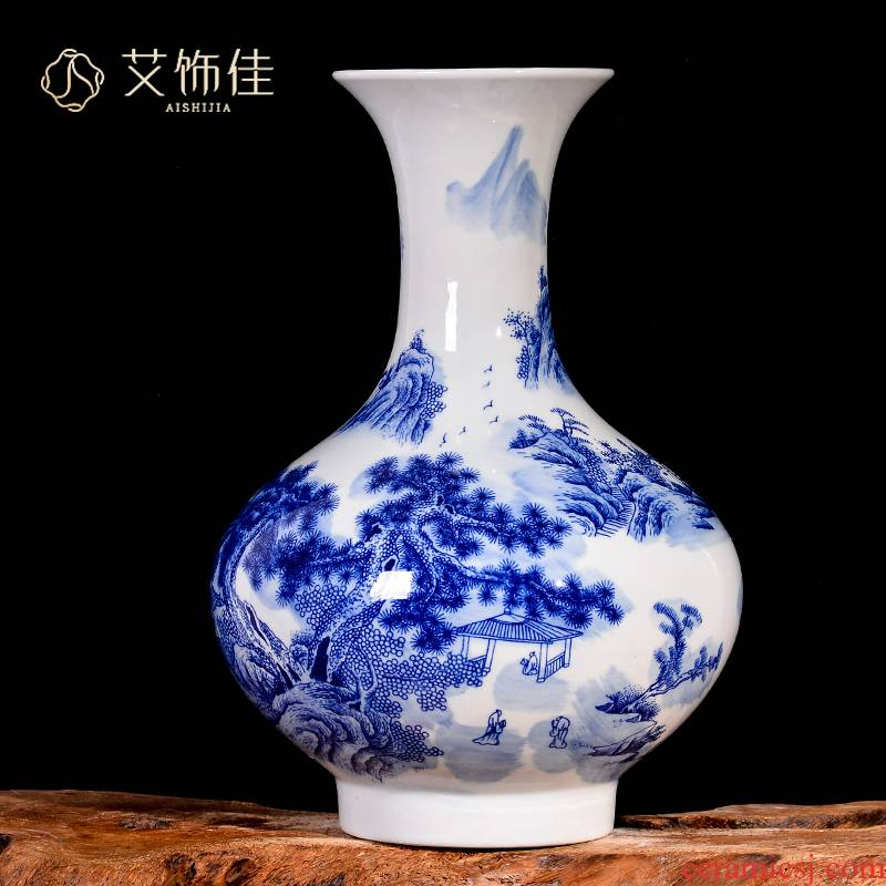 Jingdezhen blue and white porcelain ceramic vase sitting room porch landscape of modern household contracted place decorative arts and crafts