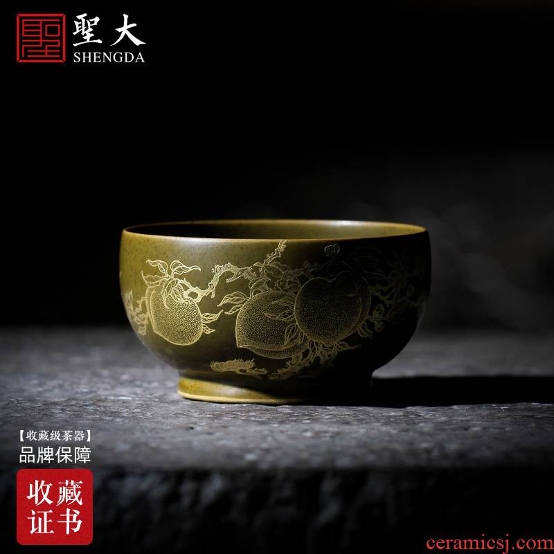 Holy big pure hand - made ceramic kung fu tea tea glaze from running of gold at the end of the peach lines master cup of jingdezhen tea service by hand