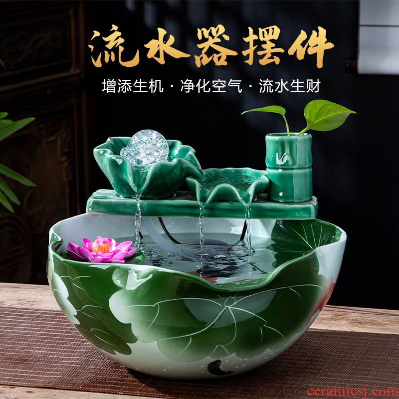 Jingdezhen chinaware lotus water furnishing articles air humidification water aquarium home office decorations