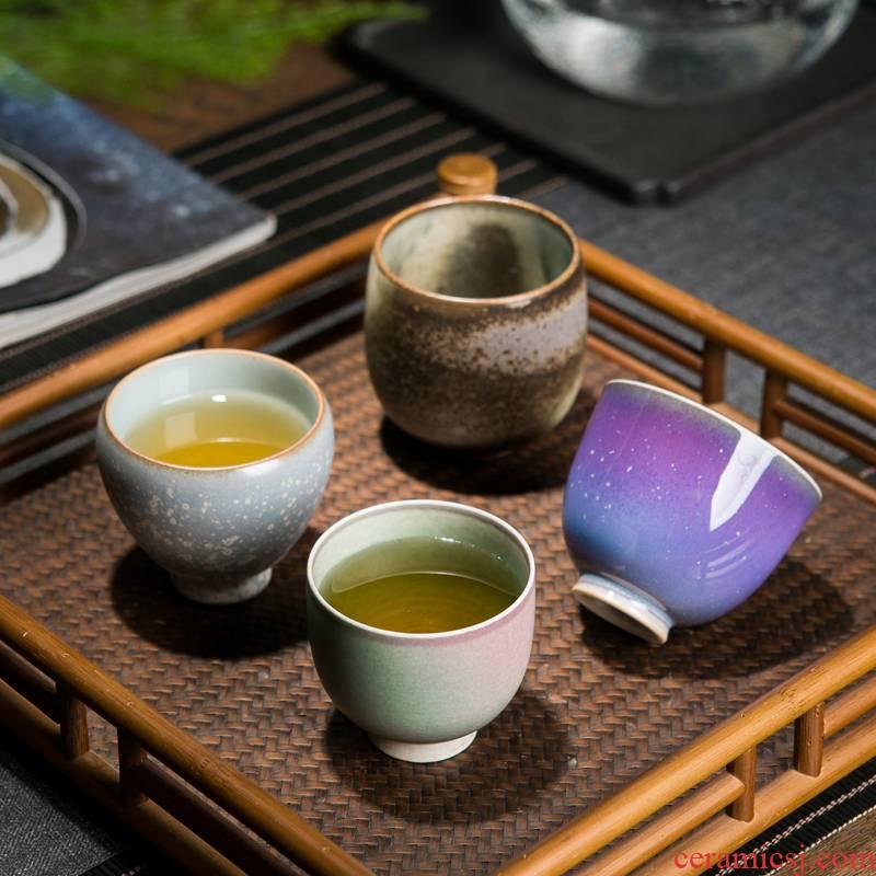 Jingdezhen up built lamp cup ceramic masters cup single CPU kung fu tea tea set, a single small bowl sample tea cup