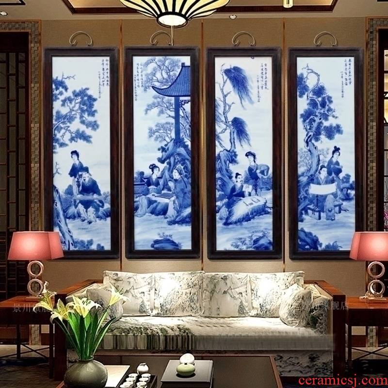 Jingdezhen ceramic painting hand - made piano chess calligraphy and painting porcelain plate four screen painter in the sitting room sofa setting wall hang a picture