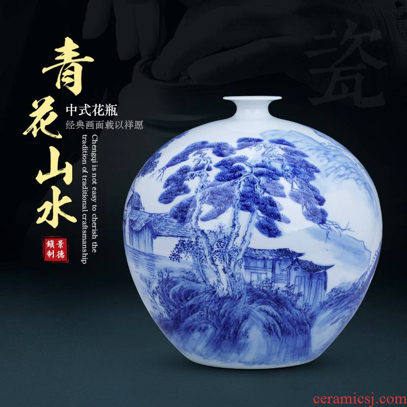 Hand - made antique blue and white porcelain vase furnishing articles and TV ark is the sitting room of Chinese style restoring ancient ways is rich ancient frame home decoration ceramics
