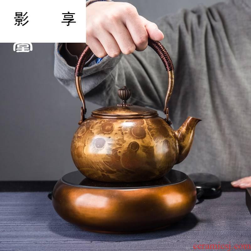 Shadow at ling Ming shi pure copper teapot copper kettle.mute electric TaoLu boiled tea tea stove hand big kettle tea set
