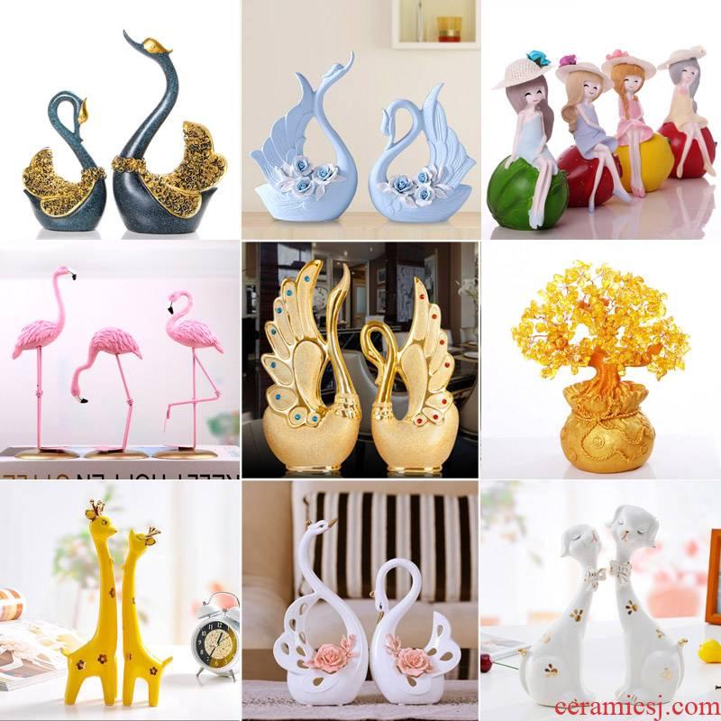 The Sitting room place, household ceramics handicraft TV ark adornment swan knick - knacks creative wedding gift