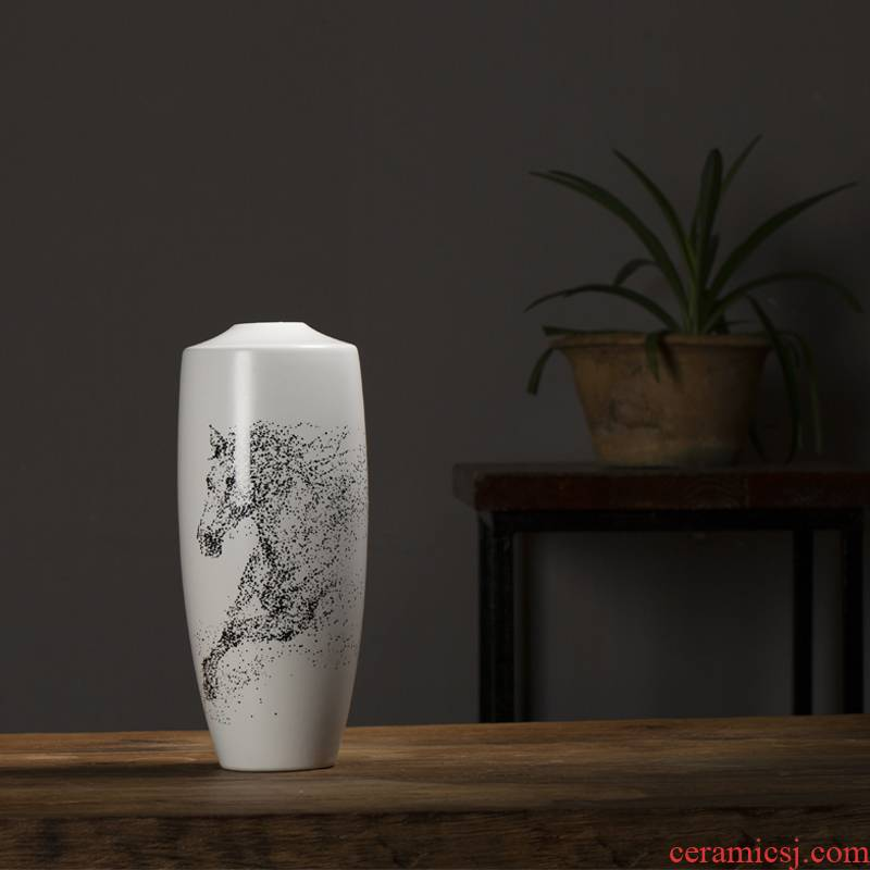 Star creative model of new Chinese style living room TV cabinet furnishing articles ceramic vase decoration home decoration