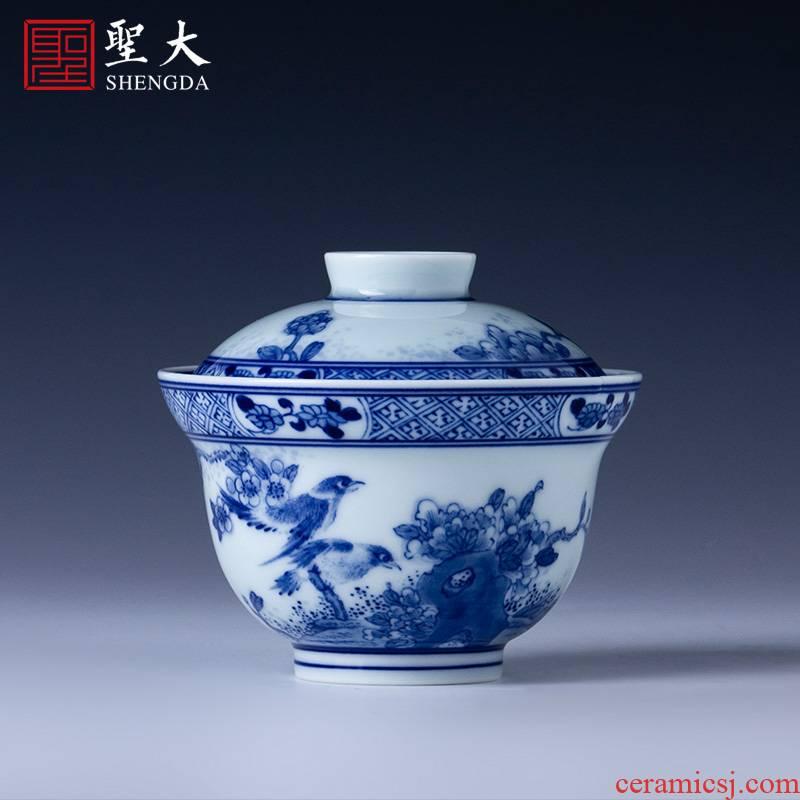 St large ceramic three tureen hand - made porcelain chunhe JingXiu no riding tureen tea bowl of jingdezhen tea service by hand
