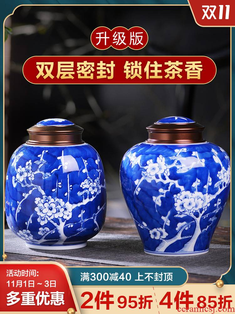 Jingdezhen porcelain tea pot small Chinese blue and white tea urn hand - made household sealed container storage POTS