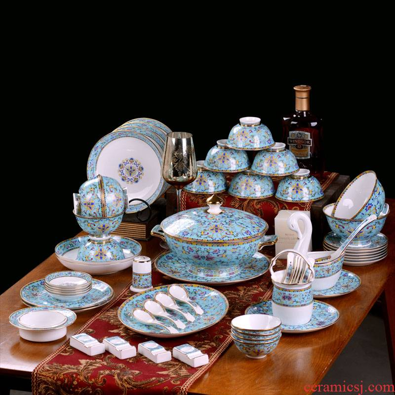 Jingdezhen up phnom penh Chinese style household enamel made pottery porcelain bowls of ipads plates spoon set a housewarming gift porcelain tableware