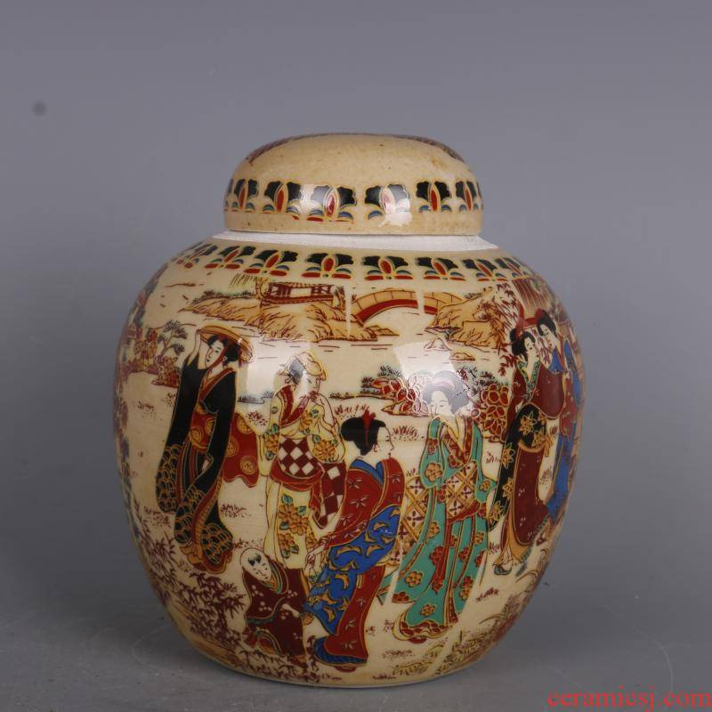 Antique handicraft the qing qianlong pastel a maid graph caddy fixings ruby applique craft porcelain altar furnishing articles