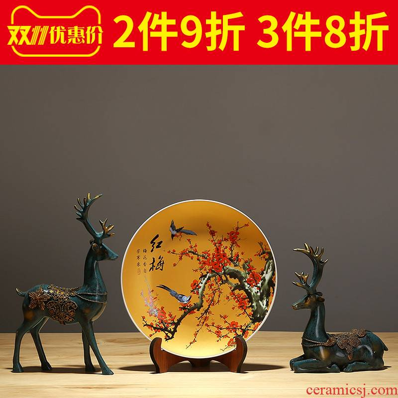 Jingdezhen decorative ceramic plate hanging dish of the sitting room porch ark of new Chinese style TV ark adornment porcelain furnishing articles