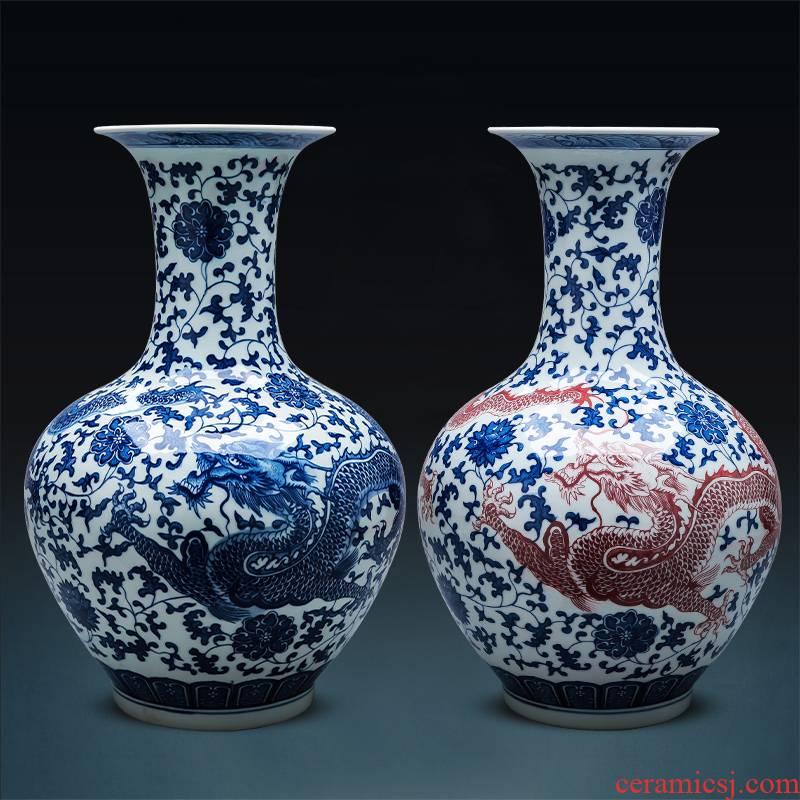 Jingdezhen blue and white porcelain vase ceramics archaize large landing place, Chinese style household flower arrangement sitting room adornment