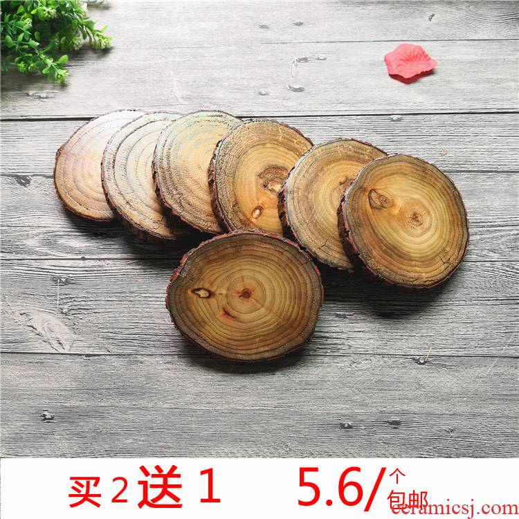 Piece of solid wood logs rings creative DIY manual painting wardrobe camphor wood logs base cup mat items furnishing articles