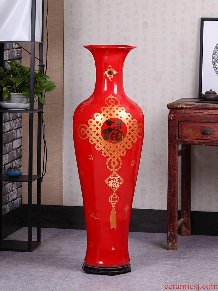Jingdezhen ceramics China red big vase TV ark landed the sitting room porch decoration large furnishing articles
