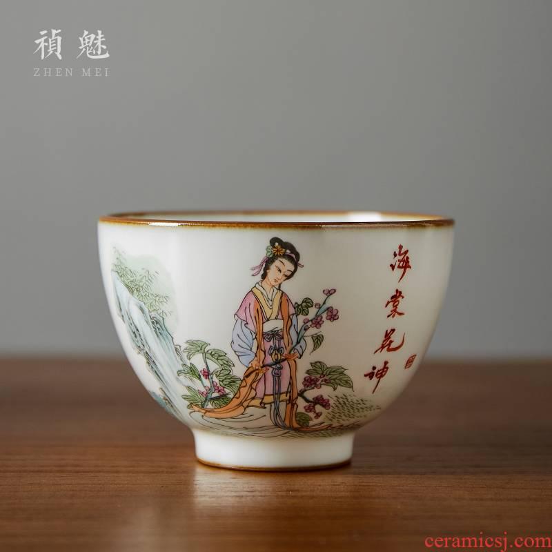 Shot incarnate your up hand - made twelve flora of jingdezhen ceramic kung fu tea set individual sample tea cup master cup single CPU