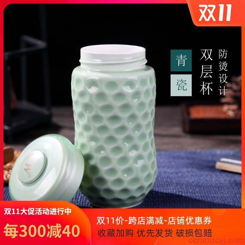 Ceramic vacuum celadon double against the hot insulation glass gift cup sealing cup with portable cup travel