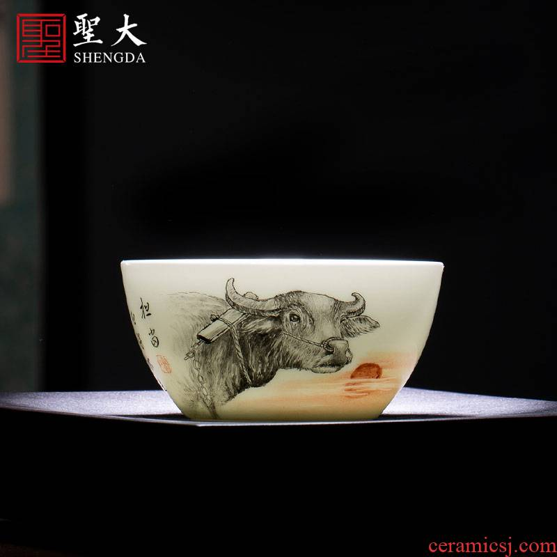 St of teacups hand - made ceramic kung fu new color bear lie great lamp cup sample tea cup manual of jingdezhen tea service master