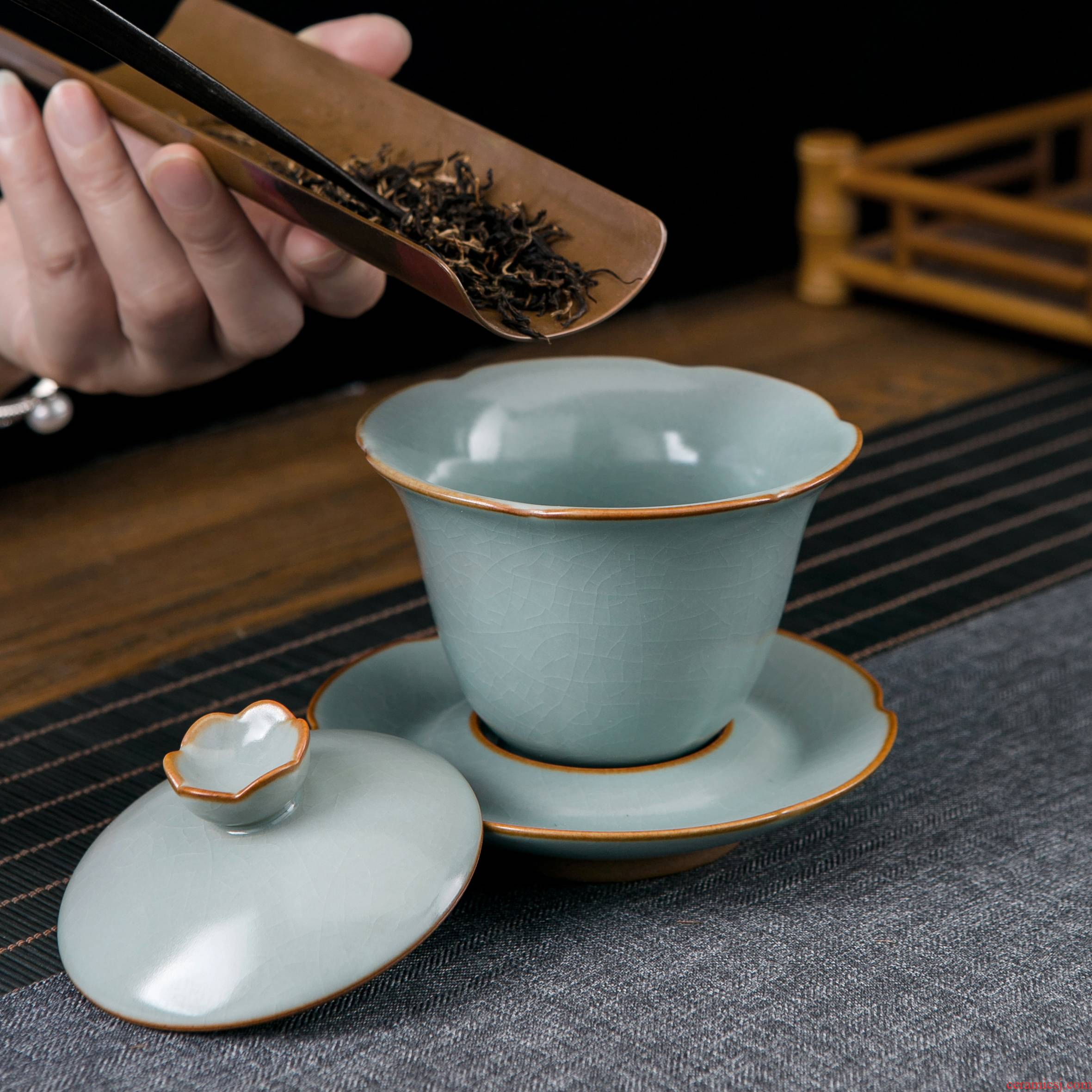 Jingdezhen ceramic kung fu tea set to open three tureen teacup only a single piece of your up is not large tea bowl