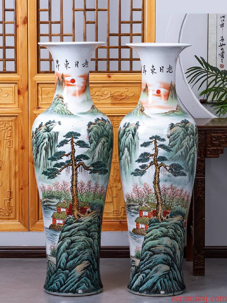 Jingdezhen ceramic hand - made landing big vase high furnishing articles to heavy Chinese office decoration for the opening large sitting room