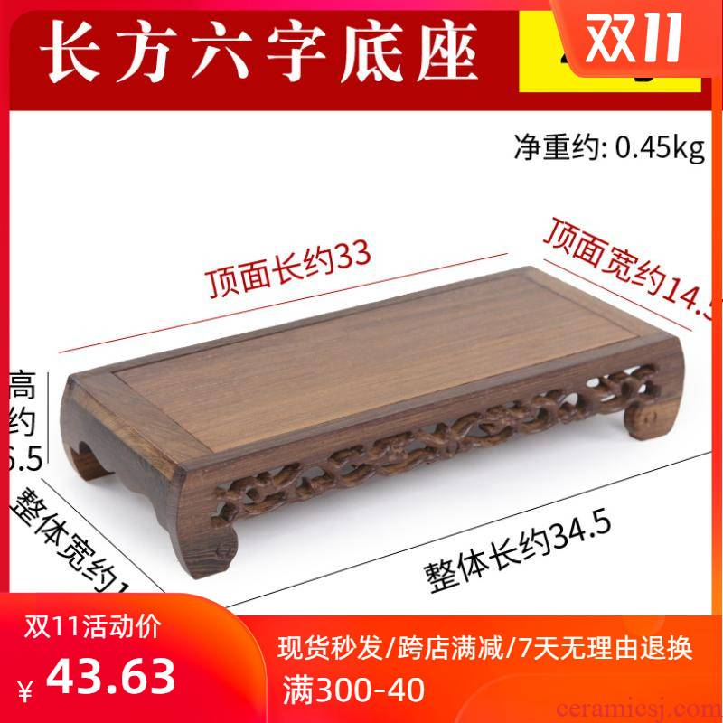 Chicken wings wood square wooden mahogany vases BaoJiao Taiwan real wood several flowers miniascape jade Buddha base