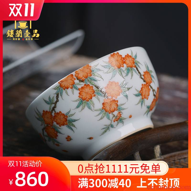 All hand - made pastel blue and white landscape within the Chinese flowering crabapple jingdezhen ceramic cups kung fu tea cup with a large master list