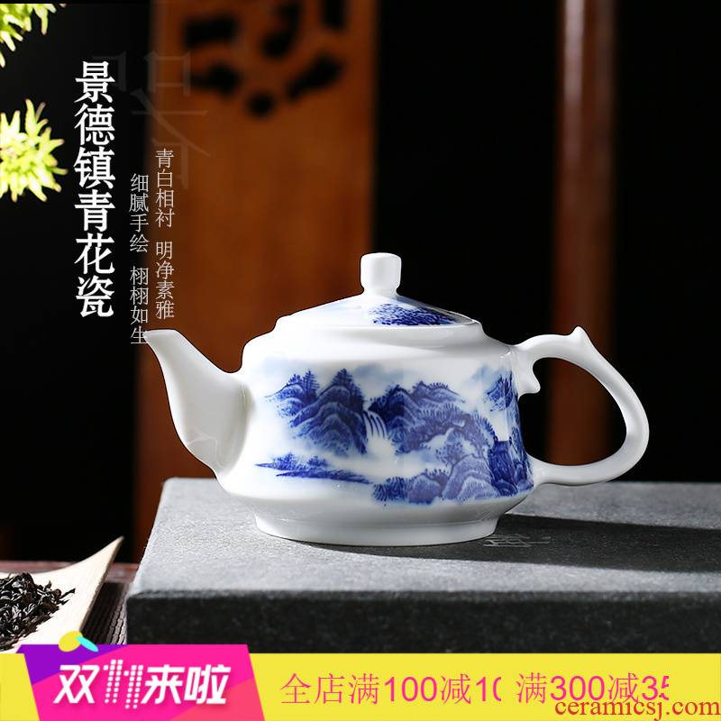 The Poly real scene high - grade jingdezhen kung fu tea set ceramic household hand - made scenery of blue and white porcelain tea teapot
