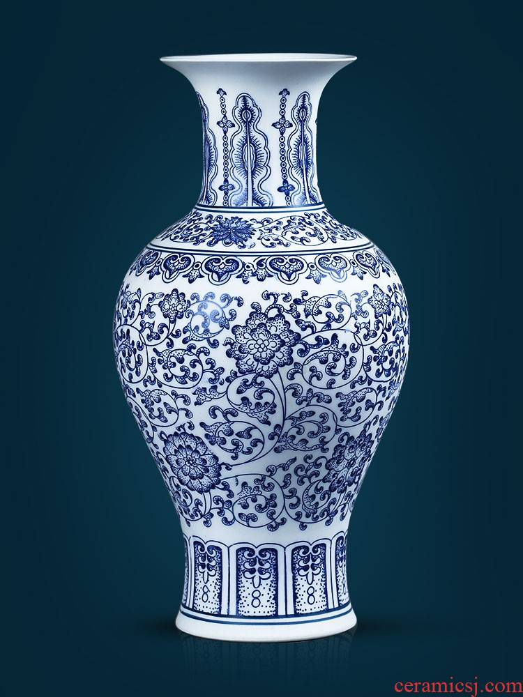 Jingdezhen blue and white porcelain ceramic vases, sitting room of Chinese style household flower arranging, TV ark, adornment rich ancient frame furnishing articles